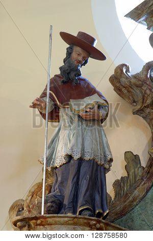 VUGROVEC, CROATIA - MAY 07: Saint Jerome statue in the Church of Saint Francis Xavier in Vugrovec, Croatia on May 07, 2014