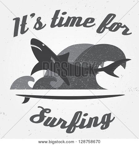 Set Of Vintage Surfing Graphics And Emblem For Web Design Or Print. Surfer, Beach Style Logo Design.