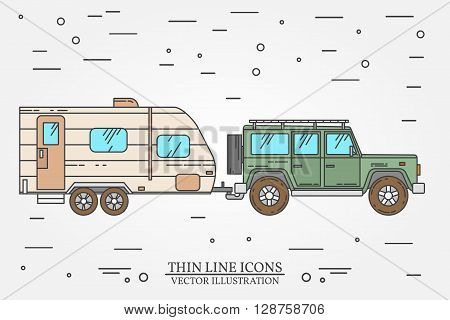 Vector Illustration Of Car And Travel Trailers. Summer Trip Family Travel Concept.  Thin Line Icon.