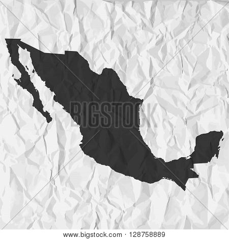 Mexico map in black on a background crumpled paper