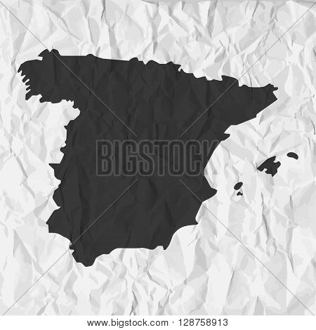 Spain map in black on a background crumpled paper