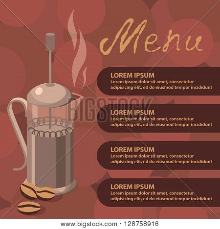 Template design for cafe and restaurants vector illustration with coffee press coffee beans and text. Vector illustration of an element corporate style for cafe