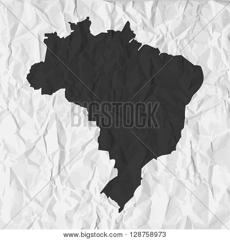 Brazil map in black on a background crumpled paper