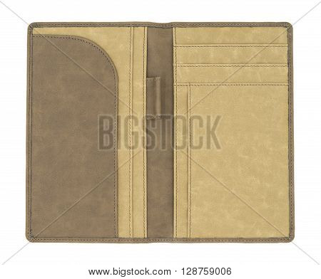 Brown leather organizer isolated on white background.