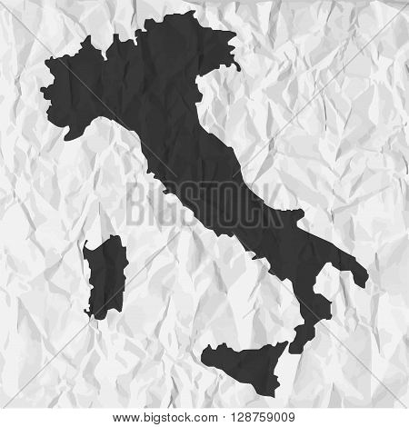 Italy map in black on a background crumpled paper