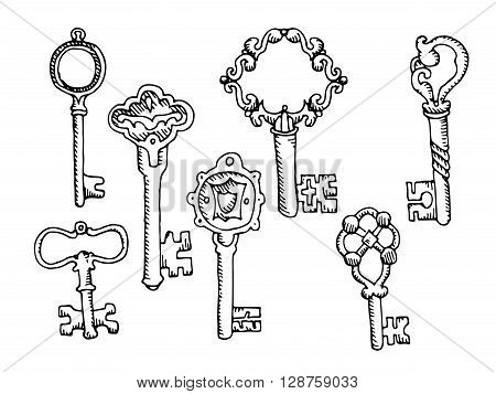 Set of keys. Hand drawn vector stock illustration