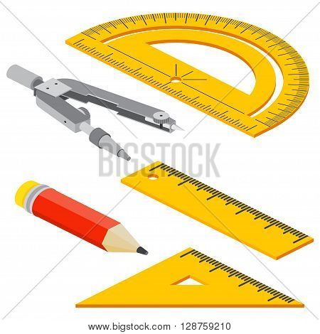 Set Of Isometric Measuring Tools: Rulers, Triangles, Protractor, Pencil And Pair Of Compasses . Vect