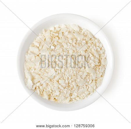 Bowl Of Rice Flakes Isolated On White, Top View