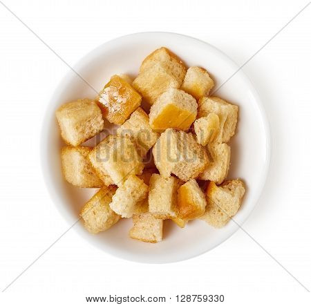 Bowl Of Croutons Isolated On White, Top View