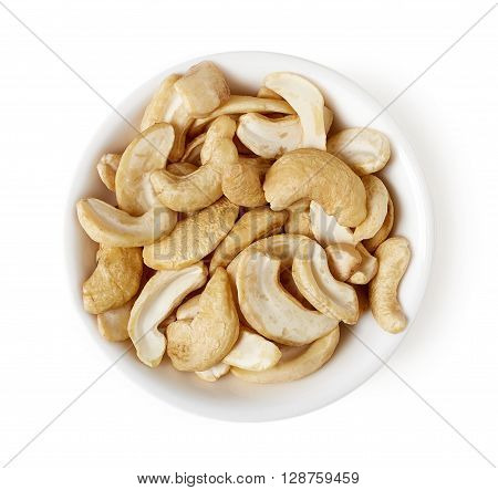 Bowl Of Cashew Nuts Isolated On White, Top View
