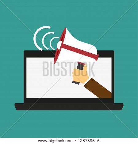 Male hand holding megaphone coming out from laptop. Concept for digital marketing promotion and advertising. Flat design vector illustration