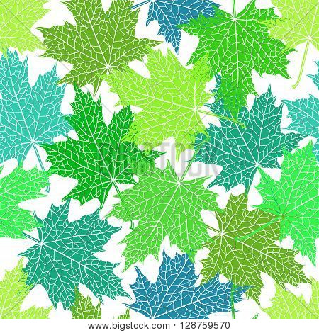 Vector seamless pattern of silhouette of a hand-drawn inversion maple leaf. Trace ink drawing of a tree leaf seamless texture in different shades of green. For seasonal holiday design. Botanical.