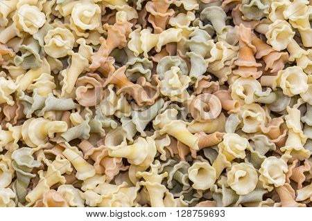 Italian Gigli pasta full background prepared for cooking