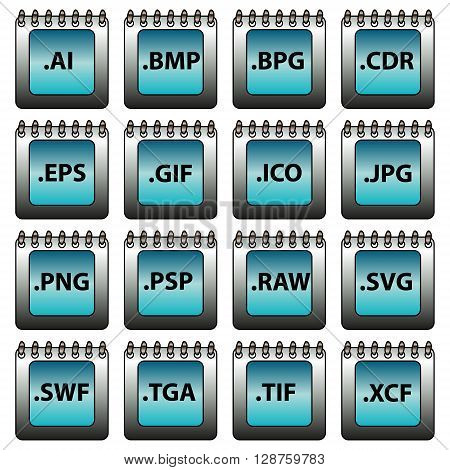 Computer generated set of vector icons with graphic formats.