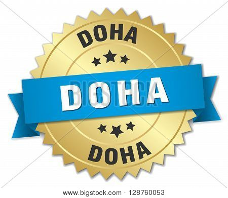 Doha round golden badge with blue ribbon