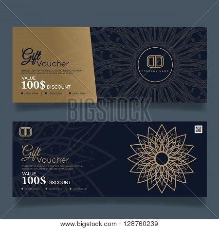 Gift Voucher Premier Color Design Gold, Vector