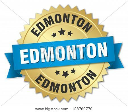 Edmonton round golden badge with blue ribbon