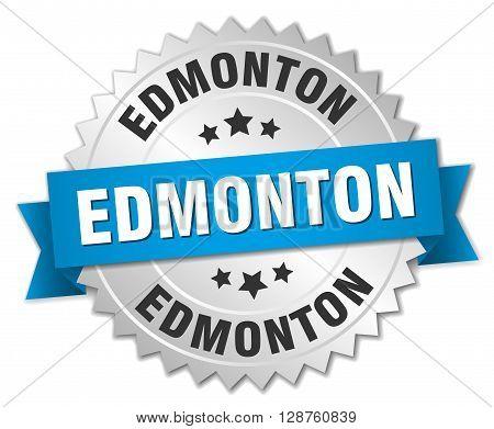 Edmonton round silver badge with blue ribbon