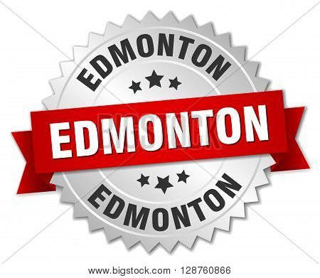 Edmonton round silver badge with red ribbon