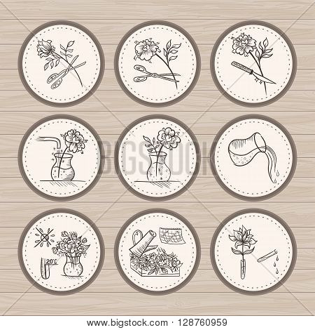 floral design signs in sketch style on wood background