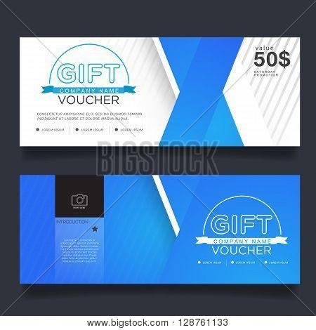 Gift Voucher Premier Color, Vector coupon design.
