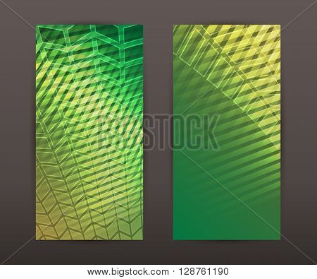 Vertical Banner Set Back Front Presentation Leaflet Green