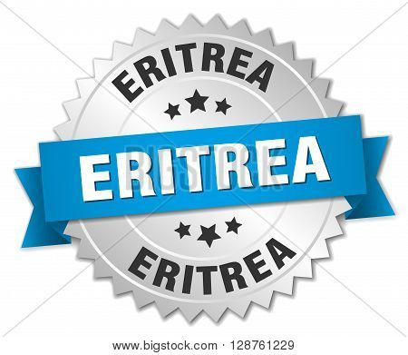 Eritrea round silver badge with blue ribbon