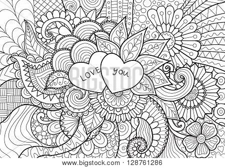 Two hearts laying on flowers for coloring book for adult, cards and other decorations