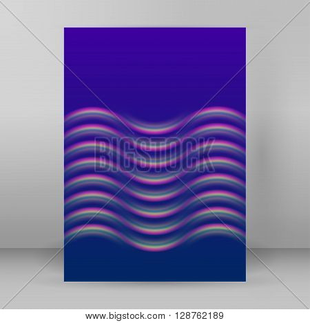 Wave Blue Background Layout Cover Page A4 Brochure