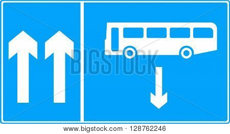An illustration of a Contra-flow bus lane traffic sign
