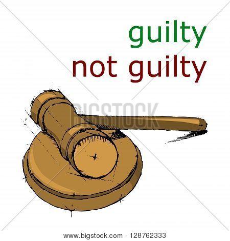 Justice hummer. Judge gavel. Hand drawn vector stock illustration