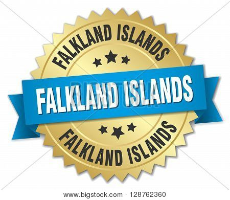 Falkland Islands round golden badge with blue ribbon