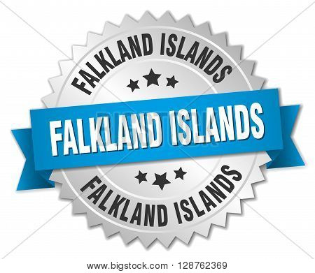 Falkland Islands round silver badge with blue ribbon