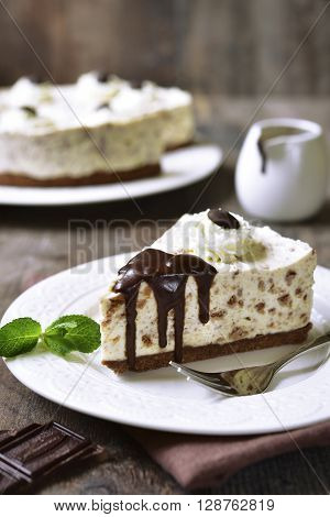 Cream Mousse Cake (no Baked Cheesecake) With Bisquit Crumbs.