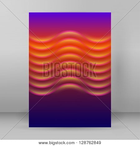 Wave Purple Background Layout Cover Page A4 Brochure