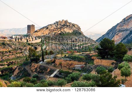 Surroundings countryside and ruins of Jijona/Xixona Castle of the Great Tower. Alicante province Costa Blanca. Spain