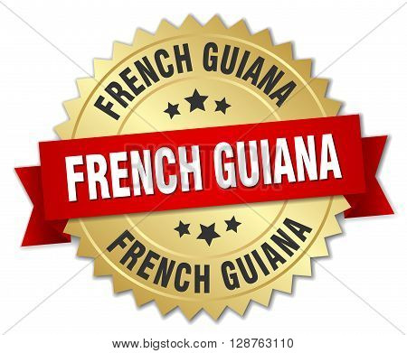 French Guiana round golden badge with red ribbon