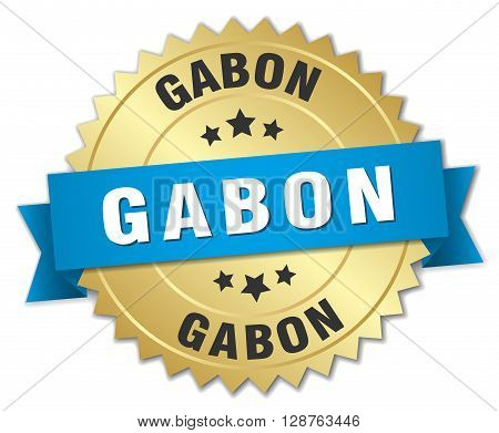 Gabon round golden badge with blue ribbon