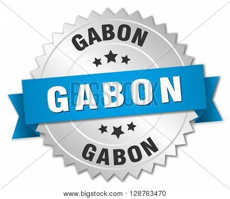 Gabon round silver badge with blue ribbon