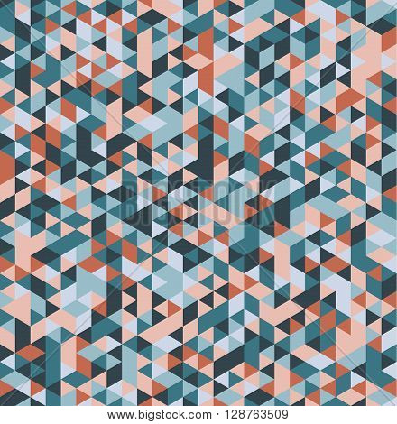 Abstract seamless triangular background. Vector illustration. Retro colors