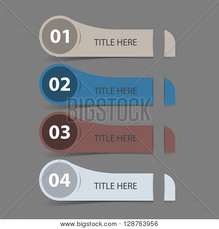 Four steps timeline objects. Abstract shape with shadows. Place for text inside shape. Vector illustration.