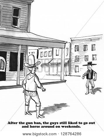 Cartoon about reenacting the Wild West for fun.