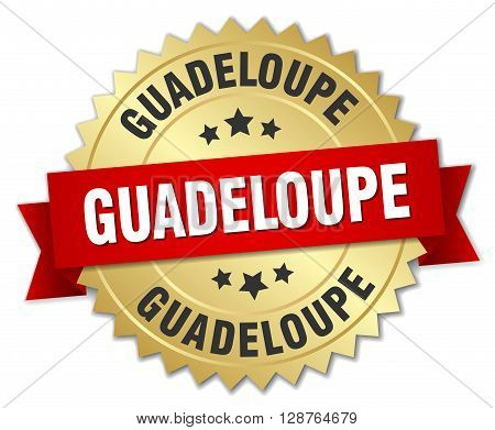Guadeloupe round golden badge with red ribbon
