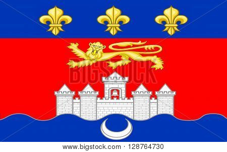 Flag of Bordeaux is a port city on the Garonne River in the Gironde department in southwestern France.