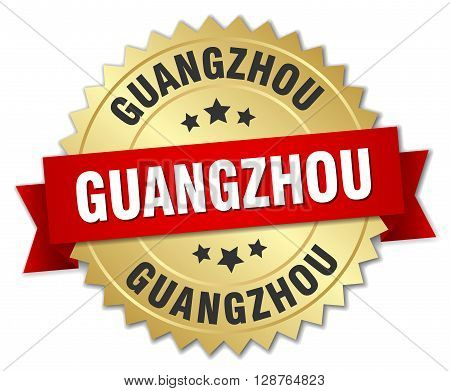 Guangzhou round golden badge with red ribbon
