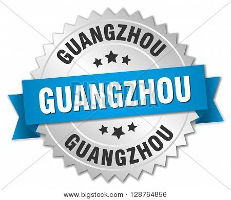 Guangzhou round silver badge with blue ribbon