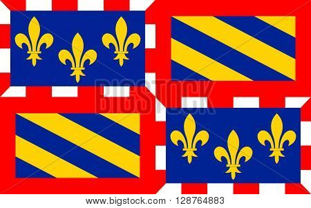 Flag of Burgundy - historical area and the region of east-central France. Administrative center - the city of Dijon. Burgundy comprises the following four departments: Cote-d'Or Saone-et-Loire Yonne and Nievre.