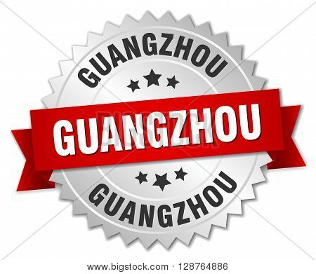 Guangzhou round silver badge with red ribbon