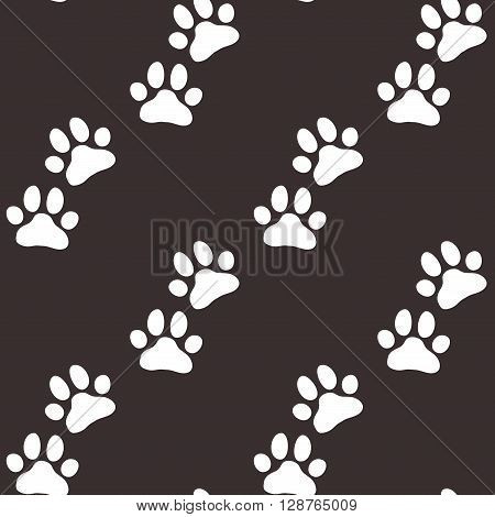 Paw zoo pattern. Brown and white illustration for zoo design.
