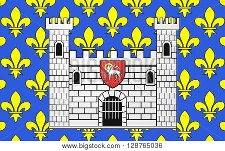 Flag of Carcassonne is a fortified French town in the Aude department of which it is the prefecture in the Region of Languedoc-Roussillon.